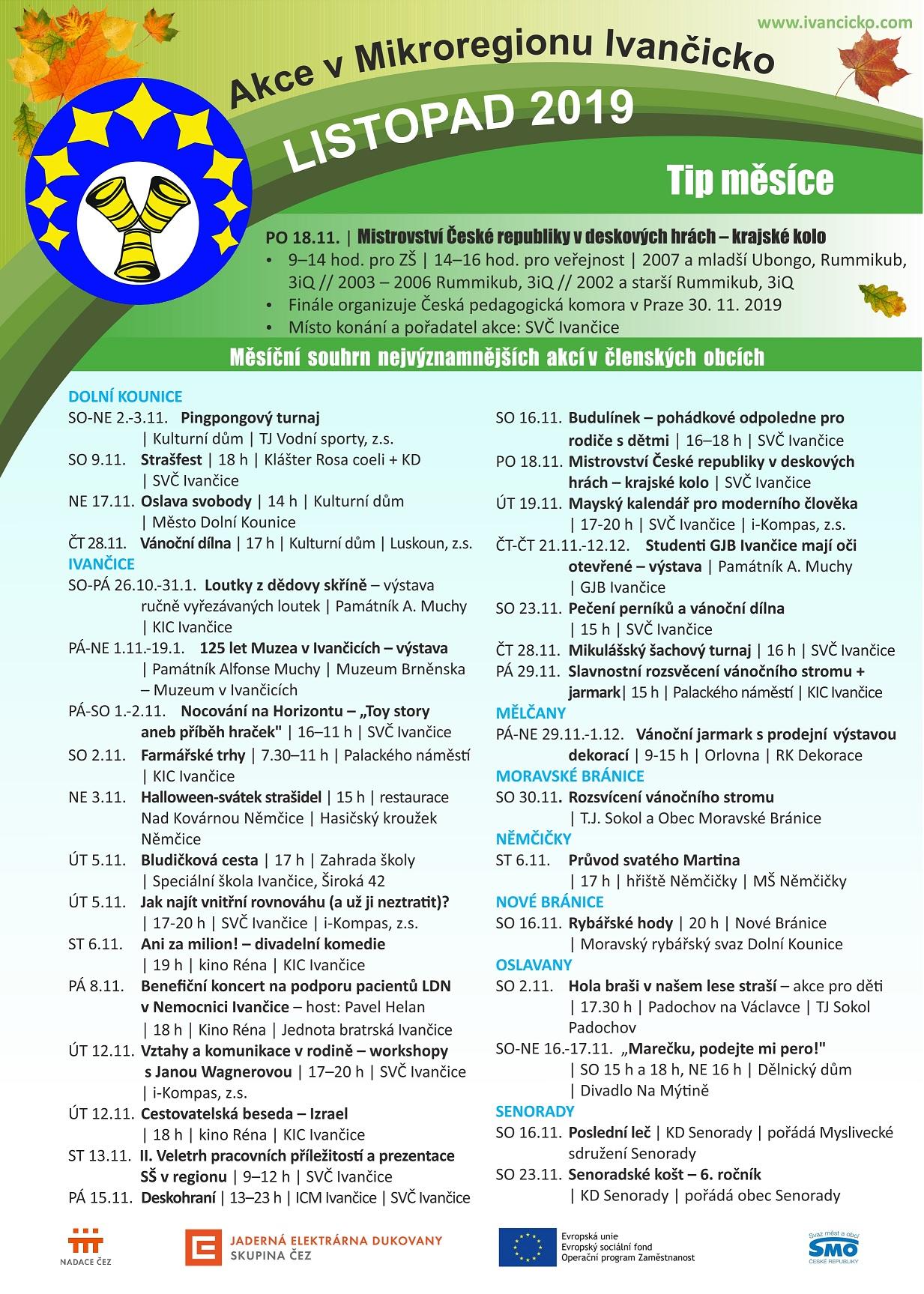 plakát akcí Mikroregion Ivančicko listopad 2019